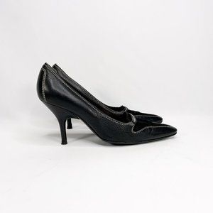 TOD'S Stitched Pointed Heels Black Leather Suede